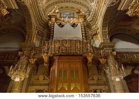SANTA MARGHERITA LIGURE, ITALY - SEPTEMBER 2016 : Pipe organ, musical instrument at Basilica Santa Margherita of Antiochia Church in Santa Margherita Ligure, Italy on September 22, 2016