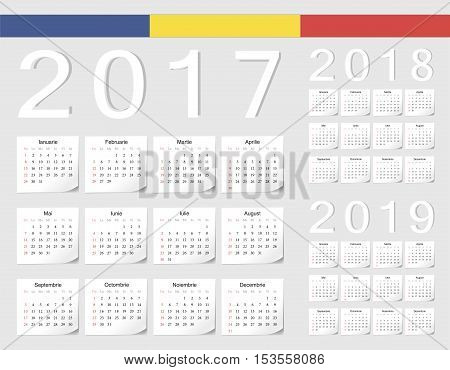 Set Of Romanian 2017, 2018, 2019 Vector Calendars