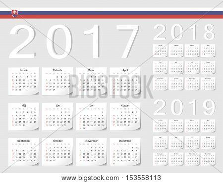 Set Of Slovak 2017, 2018, 2019 Vector Calendars