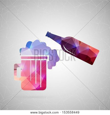 Abstract creative concept vector icon of beer. For web and mobile content isolated on background, unusual template design, flat silhouette object and social media image, triangle art origami.