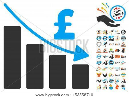 Pound Recession Bar Chart icon with bonus 2017 new year symbols. Vector illustration style is flat iconic symbols, modern colors.