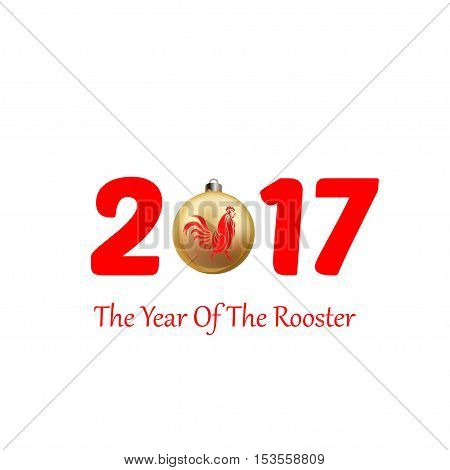 Vector illustration of rooster, symbol of 2017