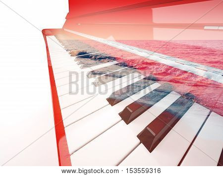 Red classical piano close-up double exposure with calm sea breaking waves isolated on white