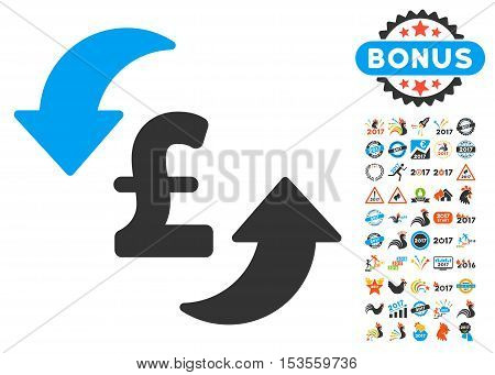 Update Pound Cost pictograph with bonus 2017 new year pictograms. Vector illustration style is flat iconic symbols, modern colors.