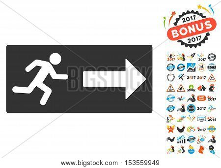 Emergency Exit pictograph with bonus 2017 new year pictograms. Vector illustration style is flat iconic symbols, modern colors.