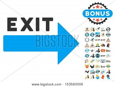 Exit Arrow pictograph with bonus 2017 new year images. Vector illustration style is flat iconic symbols, modern colors.