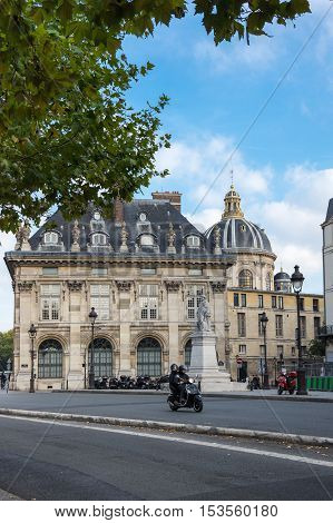 PARIS FRANCE - OCTOBER 11 2015: Old buildings in the historical centre of Paris the capital and most visited city of France