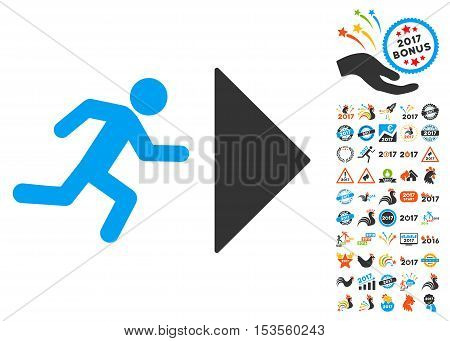 Exit Direction pictograph with bonus 2017 new year pictograms. Vector illustration style is flat iconic symbols, modern colors.