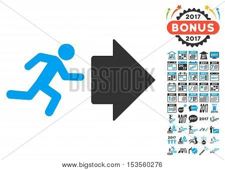 Exit Direction icon with bonus 2017 new year pictograms. Vector illustration style is flat iconic symbols, modern colors.