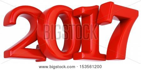 new 2017 year. isolated on white. 3D illustration