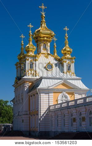 Peter and Paul Church at Grand Peterhof Palace, Saint Petersburg, Russia. Baroque style.