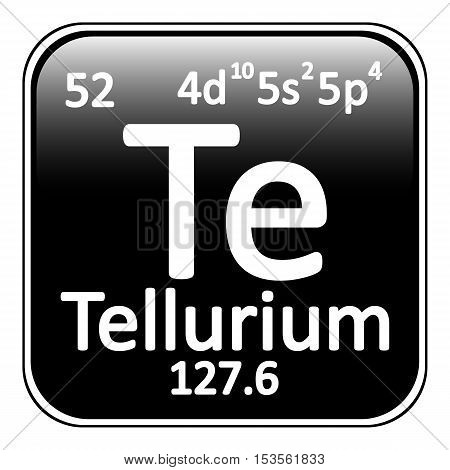 Periodic table element tellurium icon on white background. Vector illustration.