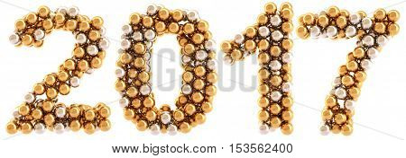 new 2016 year from golden and silver balls. isolated on white. 3D illustration