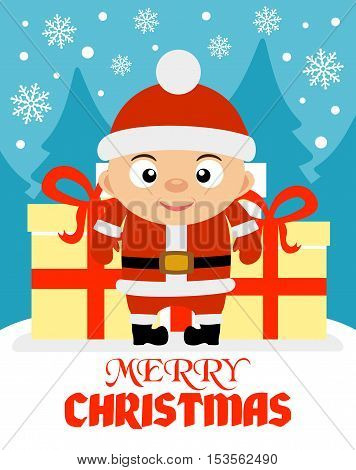 Merry Christmas vector illustration with funny boy
