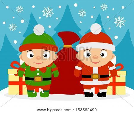 Happy New Year card with boy Santa Claus and boy Elf.vector illustration