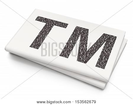 Law concept: Pixelated black Trademark icon on Blank Newspaper background, 3D rendering