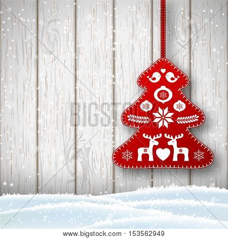 Christmas decoration in scandinavian style, red rich decorated tree in front of white wooden wall, vector illustration