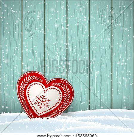 Christmas motive in scandinavian style, red and white decorated heart in front of blue wooden wall and snow, vector illustration, eps 10 with transparency and gradient meshes