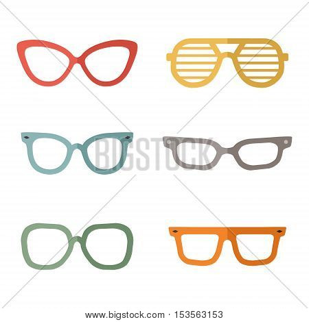 Eyeglasses flat multicolored vector set. Clean and simple design. Part one.