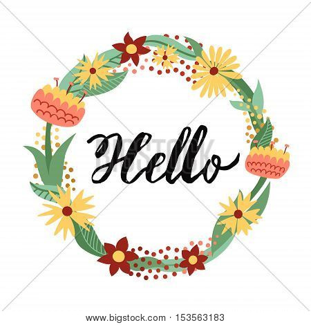 Hello ink handwritten lettering illustration with floral circle frame. Part two.