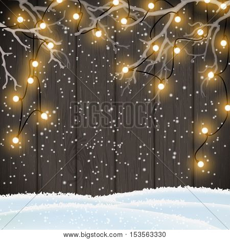 Christmas background, yellow electric lights on dark wooden wall hanging in white dry branches, vector illustration, eps 10 with transparency