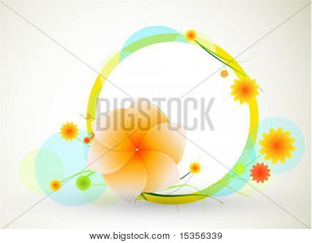 Flower on frame. Vector abstract composition