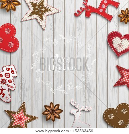 Christmas background, small scandinavian styled red decorations lying on white wooden desk, inspired by flat lay style, with text Merry christmas, framed by abstract leaf wreath, vector illustration, eps 10 with transparency