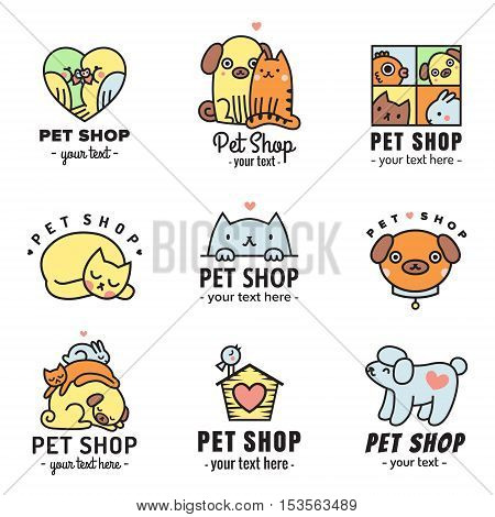 Pet shop cute logo multicolored vector set. Can be used as stickers.