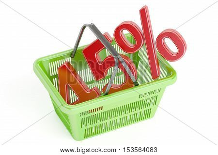 Discount and sale 45% concept 3D rendering isolated on white background