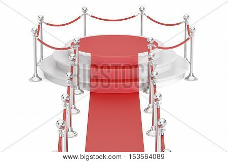 Empty podium with red carpet and barrier rope 3D rendering isolated on white background