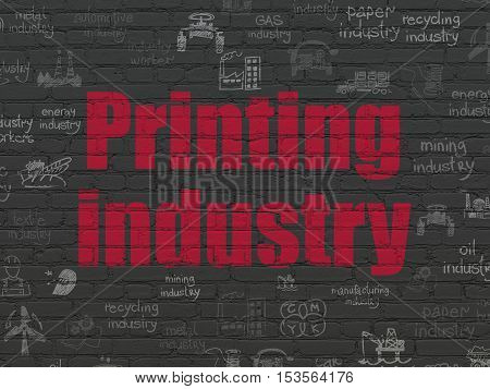 Industry concept: Painted red text Printing Industry on Black Brick wall background with  Hand Drawn Industry Icons