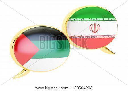 Speech bubbles Arabian-Iranian conversation concept. 3D rendering