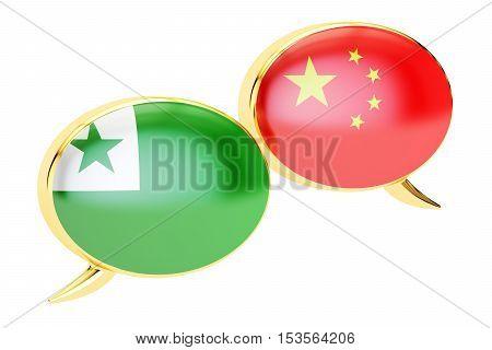 Speech bubbles Chinese-Esperanto conversation concept. 3D rendering
