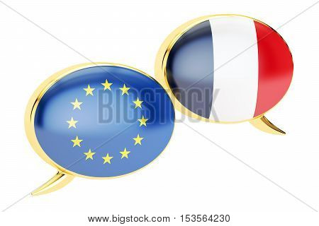 Speech bubbles EU-France conversation concept. 3D rendering isolated on white background