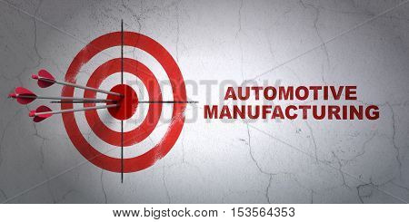 Success Industry concept: arrows hitting the center of target, Red Automotive Manufacturing on wall background, 3D rendering