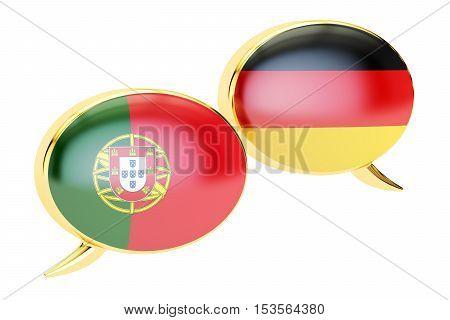 Speech bubbles German-Portuguese conversation concept. 3D rendering