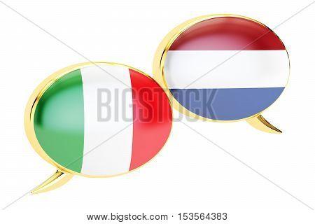 Speech bubbles Italian-Dutch translation concept. 3D rendering
