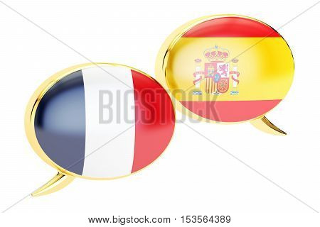 Speech bubbles Spanish-French translation concept. 3D rendering