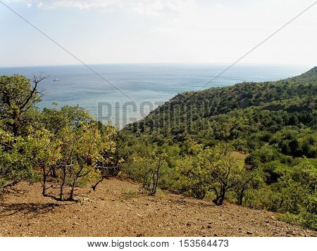 View of the sea horizon from a high mountain.