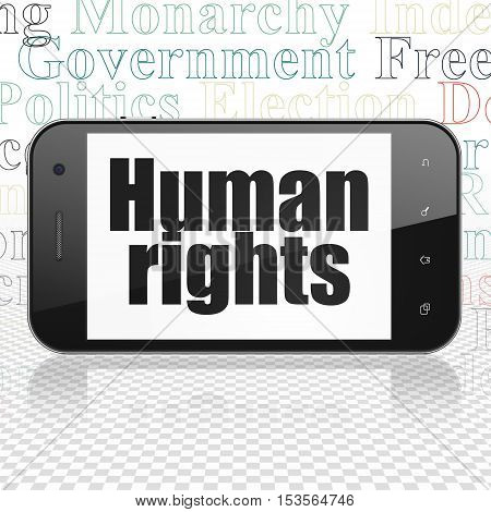 Politics concept: Smartphone with  black text Human Rights on display,  Tag Cloud background, 3D rendering