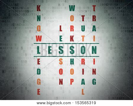 Education concept: Painted green word Lesson in solving Crossword Puzzle on Digital Data Paper background