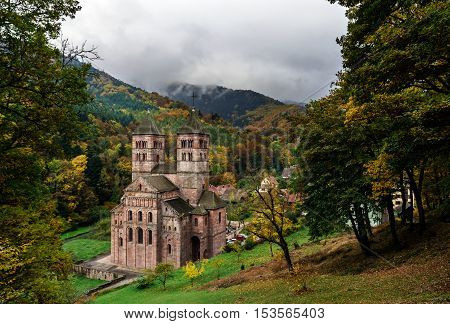 Old Medieval Abbey In Murbach, Alsace, Autumn Colors