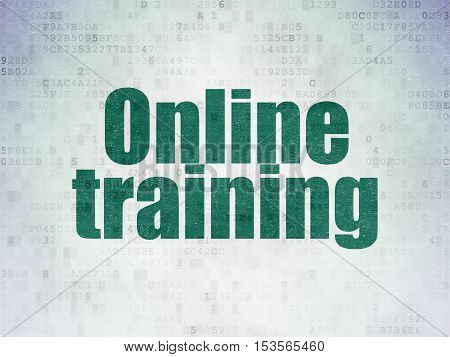 Learning concept: Painted green word Online Training on Digital Data Paper background