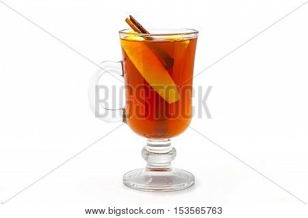 mulled wine in a glass of Irish with lemon cinnamon