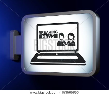News concept: Breaking News On Laptop on advertising billboard background, 3D rendering