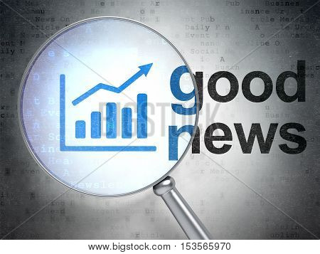 News concept: magnifying optical glass with Growth Graph icon and Good News word on digital background, 3D rendering