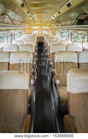 Boarding the Bus Vertical - vintage bus interior