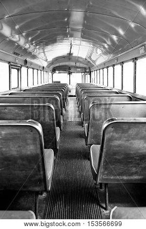Monochrome Back of the Bus - vintage view from back seat of bus