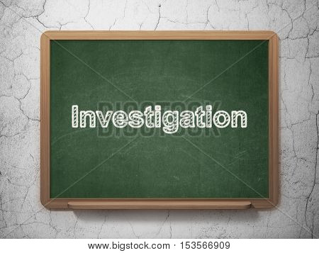 Science concept: text Investigation on Green chalkboard on grunge wall background, 3D rendering
