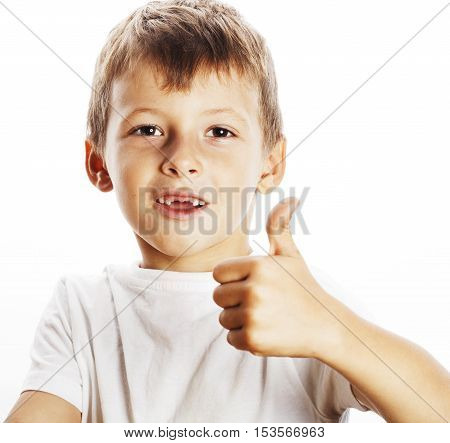 young little boy isolated thumbs up on white gesturing emotional